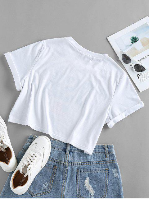 shops ZAFUL Patriotic American Flag USA Graphic Crop T-shirt - WHITE S Mobile
