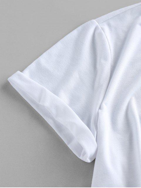 T-Shirt Corta Grafica di Bandiera Americana Patriottica di ZAFUL - Bianca S Mobile