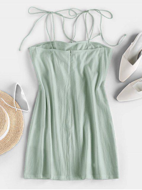 womens ZAFUL Tie Shoulder Knotted Cami Mini Dress - MINT GREEN L Mobile