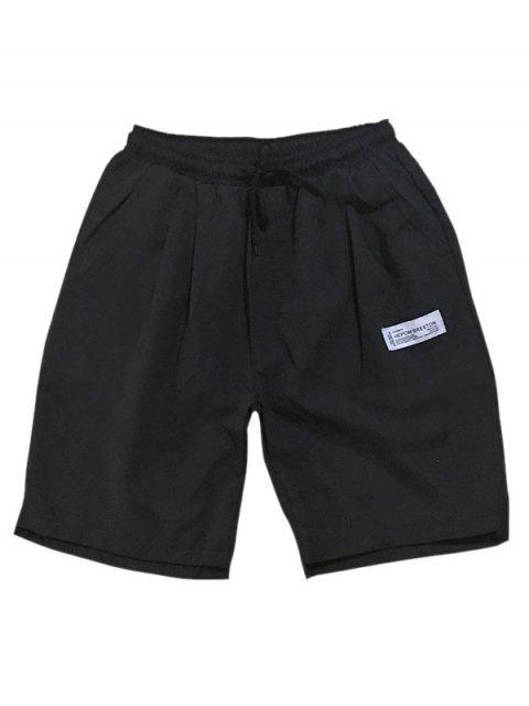 womens Asymmetric Hem Elastic Waist Plain Shorts - BLACK XS Mobile