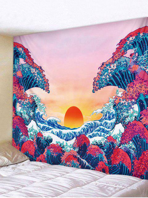 Japanese Style Sea Wave Sunset Print Tapestry - Rosso Roseo W59 x L51 pollici Mobile