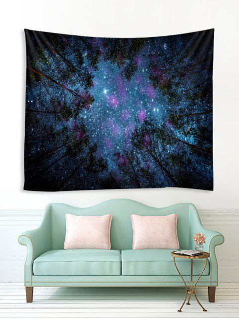 trendy Forest Under Stars Print Polyester Tapestry - LAPIS BLUE W91 X L71 INCH Mobile