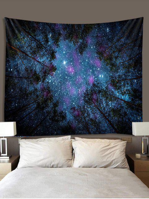 latest Forest Under Stars Print Polyester Tapestry - LAPIS BLUE W79 X L59 INCH Mobile