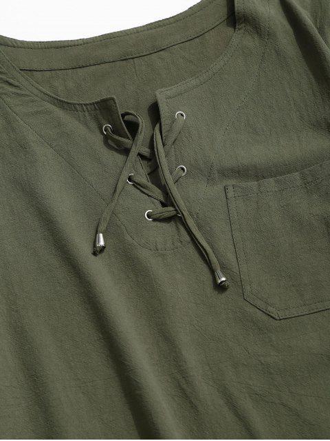 T-Shirt in Tinta Unita con Lacci e Tasca - Verde intenso 2XL Mobile