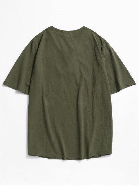 T-Shirt in Tinta Unita con Lacci e Tasca - Verde intenso XL Mobile