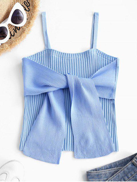 Débardeur à Bretelle Côtelé en Blocs de Couleurs avec Nœud Papillon - Bleu clair Taille Unique Mobile