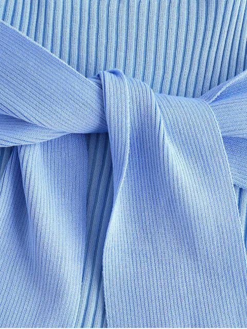 Canotta a Costine a Blocchi di Colore con Fiocco - Blu Chiaro Taglia unica Mobile