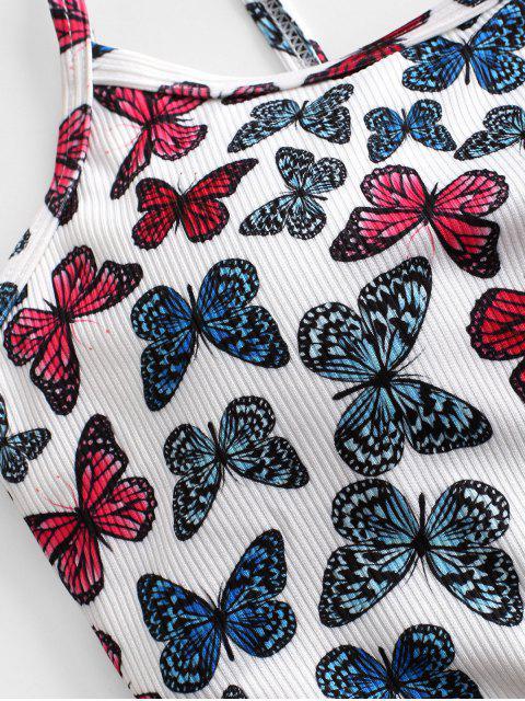 ZAFUL Haut de Bikini Court Côtelé Papillon Imprimé - Blanc L Mobile
