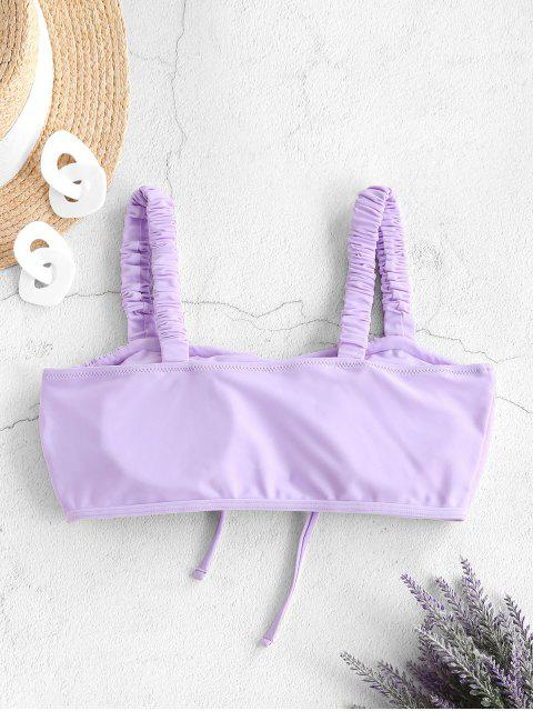 women's ZAFUL Elastic Strap Drawstring Ruched Swim Top - LIGHT PURPLE L Mobile