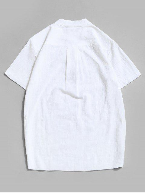 Fork Embroidered Side Slit Lace-up T-shirt - أبيض 3XL Mobile