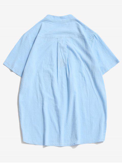 T-Shirt Ricamata Forcella con Lacci a Fessura Laterale - Azzurro XL Mobile