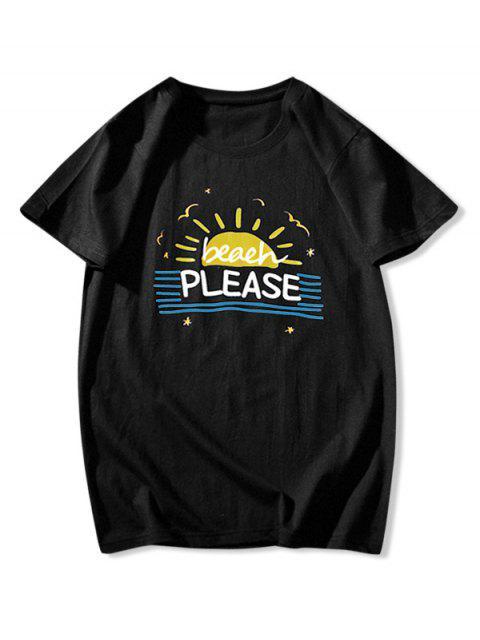 Camiseta de Praia Listrada com Gráfico - Preto S Mobile