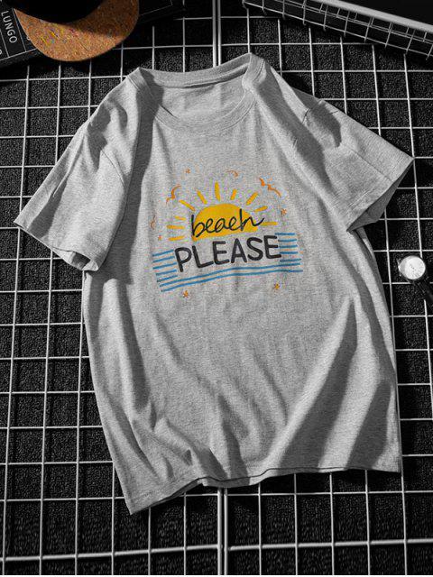 sale Beach Sun Graphic Striped T Shirt - GRAY XS Mobile