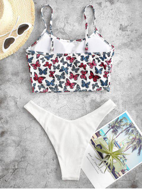 women ZAFUL Butterfly Print Ribbed High Leg Tankini Swimwear - WHITE L Mobile
