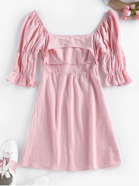fancy ZAFUL Puff Sleeve Cutout Mini Milkmaid Dress - PINK M Mobile