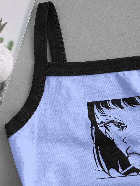 Pop Art Druck Crop Cami Top - Hellblau L Mobile