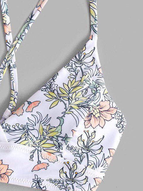 latest ZAFUL Plants Print Crisscross Tie Side Tanga Bikini Swimwear - WHITE S Mobile
