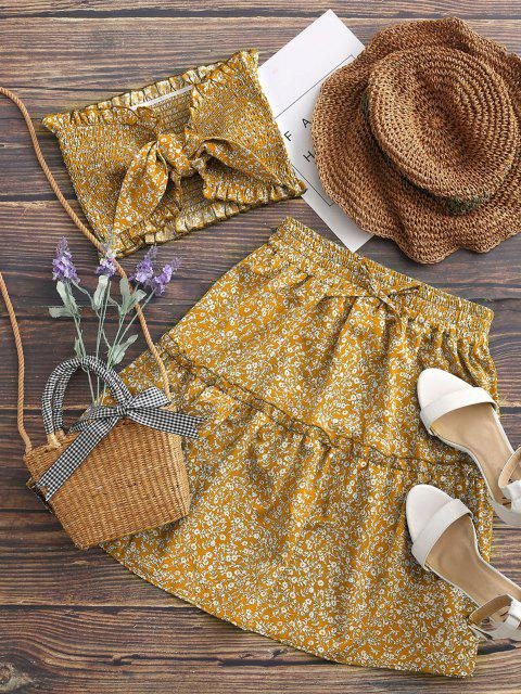 hot Ditsy Floral Tie Front Smocked Bandeau Top Set - YELLOW L Mobile