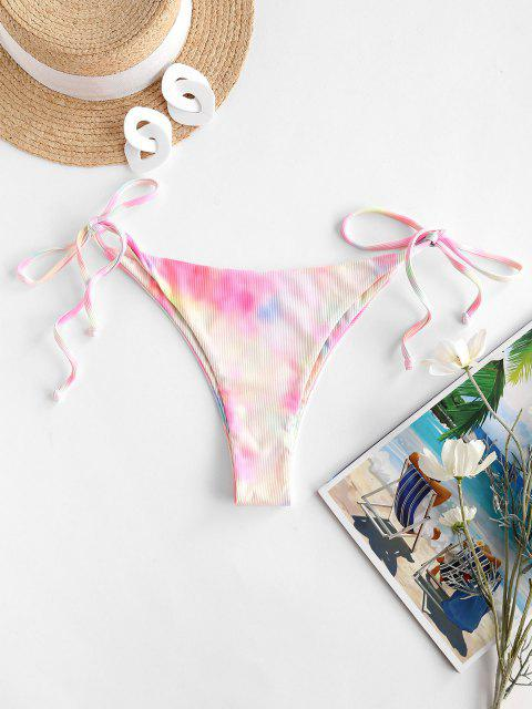 ZAFUL Krawattenfärbende String Bikini mit Geripptem Schnur - Hell-Pink M Mobile