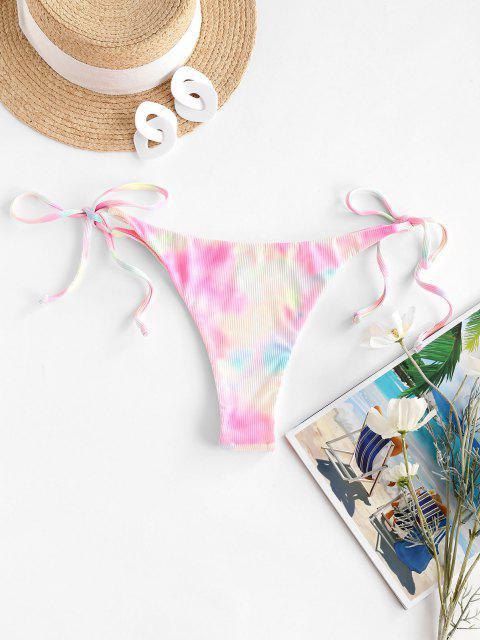 ZAFUL Krawattenfärbende String Bikini mit Geripptem Schnur - Hell-Pink L Mobile