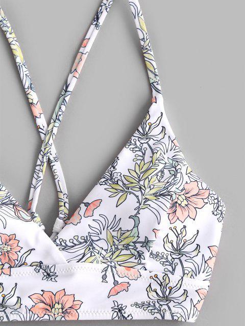 womens ZAFUL Plants Print Lace-up Three Piece Bikini Swimwear - GREENISH BLUE S Mobile