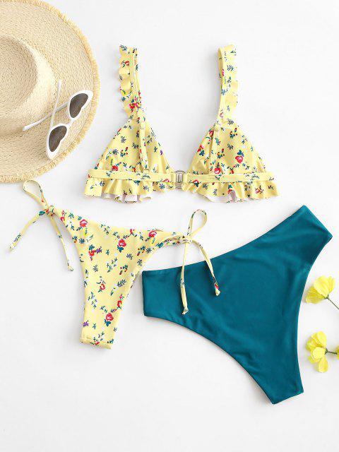 ZAFUL Ring Bikini Badebekleidung mit Ditsydruck und Rüschen - Multi-A M Mobile