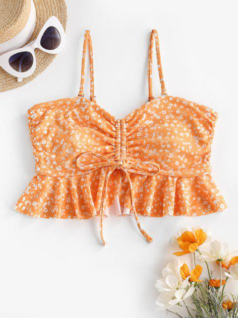 lady ZAFUL Ditsy Print Ribbed Cinched Peplum Swim Top - SANDY BROWN S Mobile