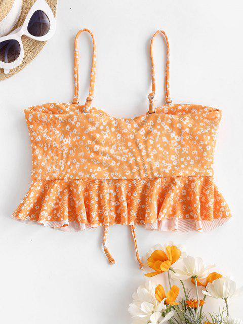online ZAFUL Ditsy Print Ribbed Cinched Peplum Swim Top - SANDY BROWN L Mobile