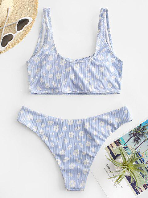 best ZAFUL Square Floral Ruched Ribbed Bikini Swimwear - LIGHT BLUE S Mobile