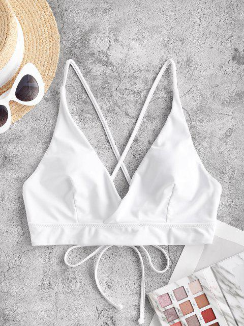ZAFUL Lace Up Back Criss Cross Bikini Top - أبيض S Mobile