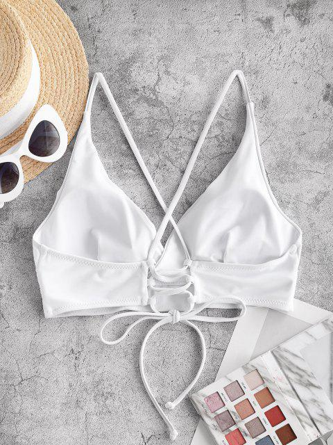 outfit ZAFUL Lace Up Back Criss Cross Bikini Top - WHITE S Mobile