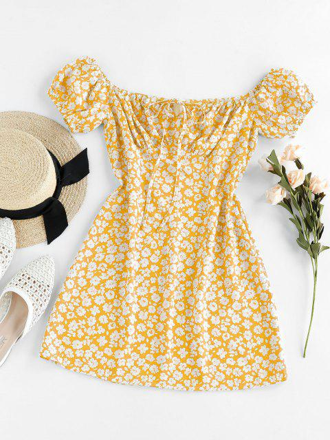 outfits ZAFUL Ditsy Floral Off Shoulder Tie Dress - MUSTARD M Mobile