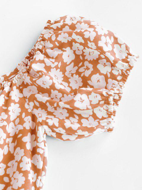 ZAFUL Schulterfreies Kleid mit Ditsy Blumenmuster - Leichter Salm XL Mobile