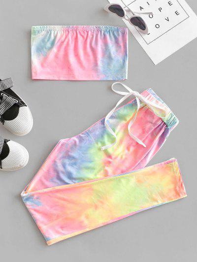 Tie Dye Bandeau Drawstring Two Piece Set - Multi S
