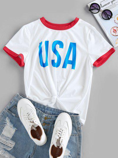 ZAFUL USA Graphic Short Sleeve Ringer T-shirt - White S