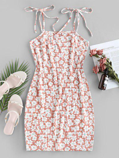 ZAFUL Flower Print Tie Shoulder Bodycon Dress - Light Pink M