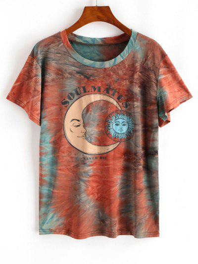 Tie Dye Lunar Sun Graphic T-shirt - Orange M