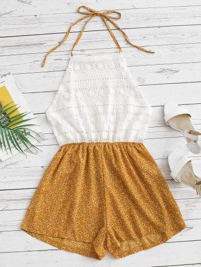 Ditsy Print Crochet Lace Panel Halter Romper - Yellow S