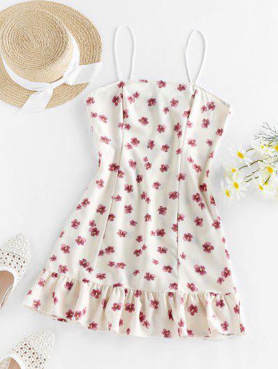 ZAFUL Robe Fleurie Imprimée à Volants à Bretelle - Blanc De Crème  S