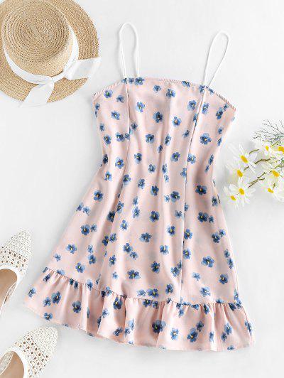 ZAFUL Flounce Floral Print Cami Dress - Pig Pink S