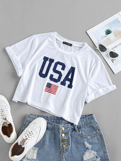 ZAFUL Patriotic American Flag USA Graphic Crop T-shirt - White L