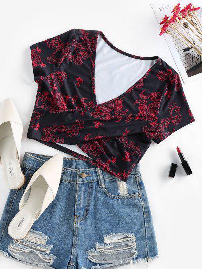 ZAFUL Crossover Oriental Dragon Print Crop T Shirt - Black Xl