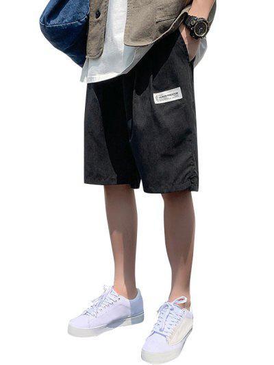 Asymmetric Hem Elastic Waist Plain Shorts - Black L
