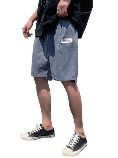 Asymmetric Hem Elastic Waist Plain Shorts - Marble Blue Xl