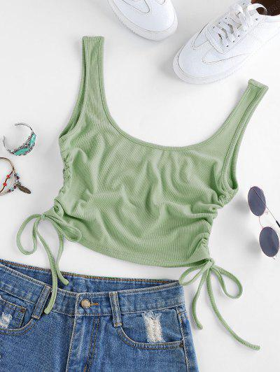 ZAFUL Cinched U Neck Ribbed Crop Top - Light Green S