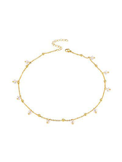 Faux Crystal Beaded Necklace - Golden