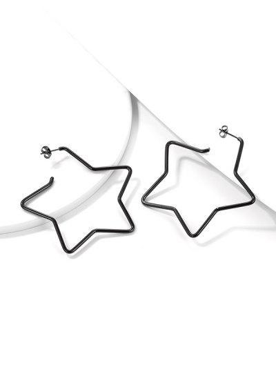 Star Open Hoop Earrings - Black