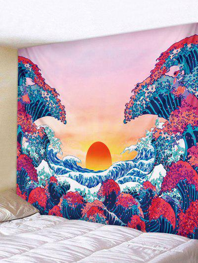 Japanese Style Sea Wave Sunset Print Tapestry - Rose Red W91 X L71 Inch