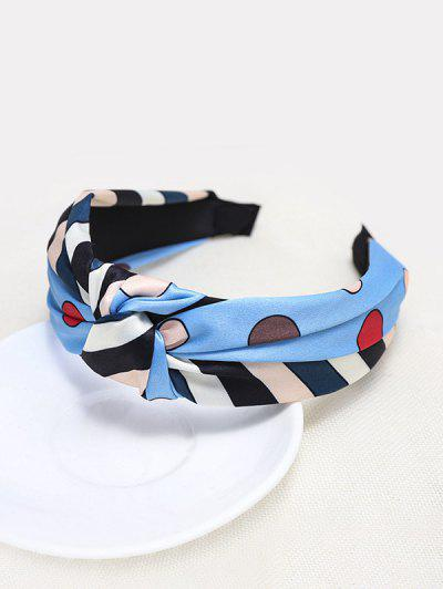Colorful Striped Knotted Headband - Blue