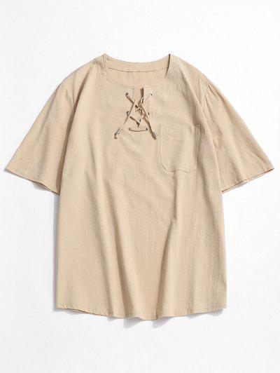 Camiseta Acanalada De Bolsillo Con Cordones - Amarillo Claro 3xl